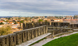 View of Carcassonne from the fortress - France Stock Images