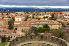 View of Carcassonne from the fortress, Languedoc, France Royalty Free Stock Photography