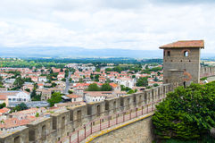 View on Carcassonne from wall of Carcassonne castle. France Royalty Free Stock Photos