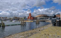 View of Cardiff Bay area with famous buildings, Pierhead and Sin Royalty Free Stock Image