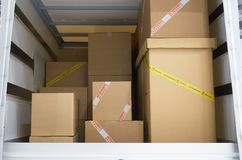 In the cargo area of the truck Stock Images