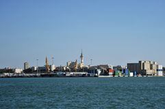 View of the cargo port of the ancient sea city of Cadiz. Royalty Free Stock Photography