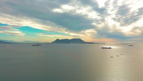View on cargo port and bay of Gibraltar bay of Algeciras. Gibraltar, United Kingdom, Europe. View on cargo port and bay of Gibraltar, United Kingdom, Europe stock video