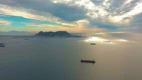 View on cargo port and bay of Gibraltar bay of Algeciras. Gibraltar, United Kingdom, Europe. View on cargo port and bay of Gibraltar, United Kingdom, Europe stock footage