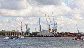 View of cargo port in Rotterdam Stock Image