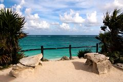 View of the Caribbean Sea from a Cliff at Tulum Royalty Free Stock Photo