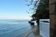 View of the caribbean sea. Ocean and sky meet in a horizon fare away on jamaica in the caribbean stock photography