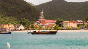 View at the caribbean village, Martinique island. Royalty Free Stock Photography