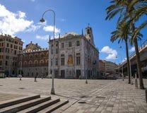 View of Caricamento Square in Genoa historic center, near `Porto Antico` Old port. Area, Italy royalty free stock photography