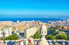 The view from Carmel Mount. The Carmel Mount is the best city`s viewpoint, overlooking old and modern districts, port and coast of Marseille, France stock image