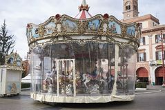 View of a Carousel. Forli, Italy - January 03, 2018 : Carousel in Forli square during christmas time Stock Photos
