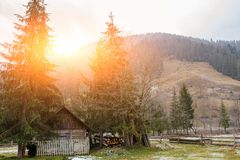 View on the carpathian pinewood house. A View on the carpathian pinewood house Stock Photos