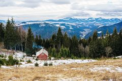 View on the carpathian pinewood house. A View on the carpathian pinewood house Stock Photography