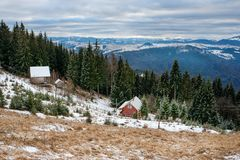 View on the carpathian pinewood houses. A View on the carpathian pinewood houses Royalty Free Stock Photo