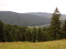 View of the Carpathians from the mountain stock image