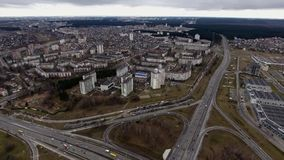 View of a traffic road Autumn Minsk City. View of a cars traffic on the road Autumn Minsk City stock video footage