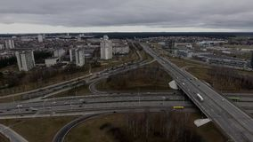 View of a traffic road Autumn Minsk City. View of a cars traffic on the road Autumn Minsk City stock video
