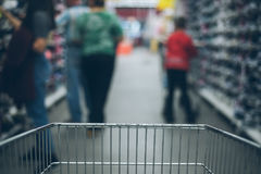 View from the cart on blured store Royalty Free Stock Image