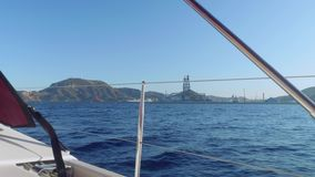 View of Cartagena coast and floating oil derrick near it stock video