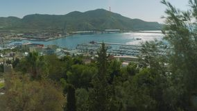 View of Cartagena coast with marina from Castle of Concepcion stock footage
