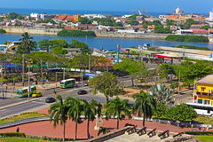 A view on Cartagena walled city from the castle. Royalty Free Stock Image