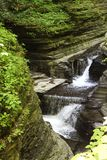 Cascades at Watkins Glen State Park. View of cascades and Glen Greek from the gorge trail stock photography