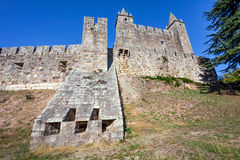 View of a casemate bunker emerging from the walls of the Feira castle. Royalty Free Stock Image