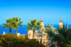 View on the Casino of Monte Carlo, some trees, and the sea Royalty Free Stock Photography