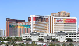 View of casinos in Las Vegas. View of Las Vegas Encore, Mirage and Treasure Island casino buildings Stock Images