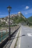 Castel di Tora city, near Rieti, view from the road Royalty Free Stock Image