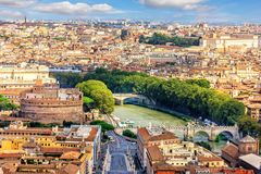 View on Castel Sant`Angelo,The Tiber and the bridges from Vatican stock images
