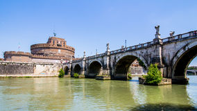 View of Castel Sant'Angelo from under the bridge , Rome, Italy Stock Photos
