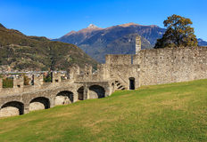 View from the Castelgrande fortress in Bellinzona, Switzerland. View from the Castelgrande fortress in the city of Bellinzona in the Swiss canton of Ticino Royalty Free Stock Images
