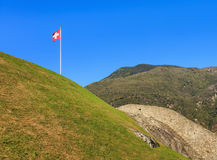 View from the Castelgrande fortress in Bellinzona, Switzerland. View from the medieval fortress Castelgrande in the city of Bellinzona, Switzerland at the middle Stock Image