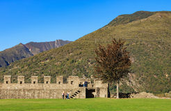 View from the Castelgrande fortress in Bellinzona, Switzerland. Bellinzona, Switzerland: 12 October, 2016: view from the Castelgrande fortress. The Castelgrande Royalty Free Stock Photos