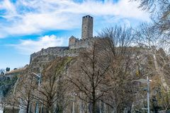 View of Castelgrande one of The Castles of Bellinzona. The UNESCO World Heritage Site Royalty Free Stock Images