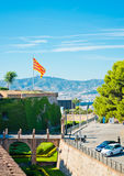 View of Castell de Montjuich, in Barcelona Stock Images