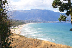 View of Castellammare del Golfo from Balestrate, Sicily, Italy Stock Photos