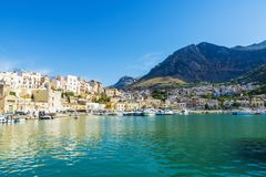 View of Castellammare del Golfo in Sicily, Italy Stock Image