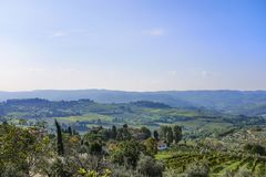 View from Castellina in Chianti to the hills with vineyards in T. Uscany in Italy stock photos