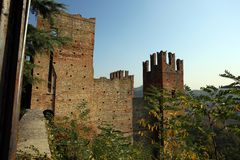 View of castello arquato. A beautiful town in Italy stock photos