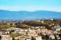 View from the Castello on Colle di Giano, Conegliano Veneto. Beautiful panoramic view to Conegliano Veneto, houses, mountains and colorful buildings, on Colle di Stock Photos