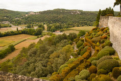 View of Castelnaud from Le Jardin Marqueyssac Stock Images