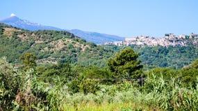 View of Castiglione di Sicilia town in Sicily Royalty Free Stock Photo