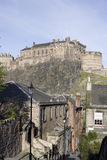 View of Castle. Edinburgh Castle viewed from the South, with houses leading down to the Grassmarket in the foreground Stock Photography