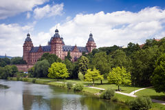 View of castle. The river main passing castle johannisburg near aschaffenburg, germany Stock Images