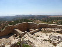 View from The castle of Ajloun. Known as Qa'lat Al-Rabad by its local and original name; is an Ayyubid castle that stands atop Jabal Auf, near Ajloun, in Stock Photos