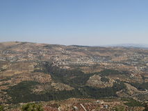 View from The castle of Ajloun. Known as Qa'lat Al-Rabad by its local and original name; is an Ayyubid castle that stands atop Jabal Auf, near Ajloun, in Royalty Free Stock Images