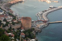 Alanya Castle. Tower, coast. royalty free stock images