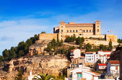 View of  Castle of Alcaniz. In winter.  Aragon, Spain Royalty Free Stock Photos